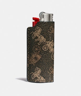 TALL LIGHTER CASE WITH HORSE AND CARRIAGE PRINT