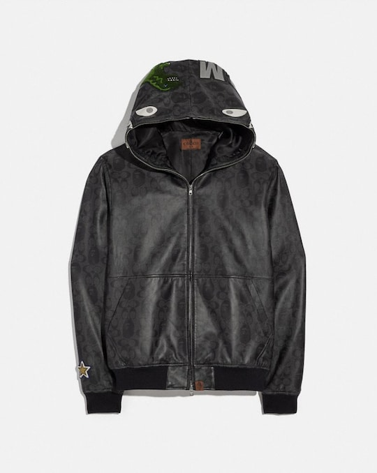 BAPE X COACH SHARK LEATHER JACKET