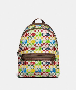 BAPE X COACH ACADEMY BACKPACK IN SIGNATURE CANVAS WITH APE HEAD