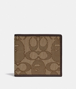 BAPE X COACH COIN WALLET IN SIGNATURE JACQUARD WITH APE HEAD