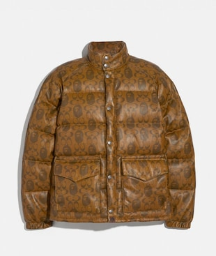 BAPE X COACH LEATHER DOWN JACKET