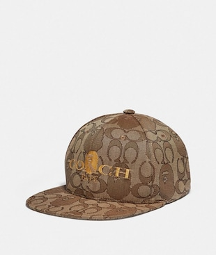BAPE X COACH BASEBALL CAP IN SIGNATURE JACQUARD WITH APE HEAD