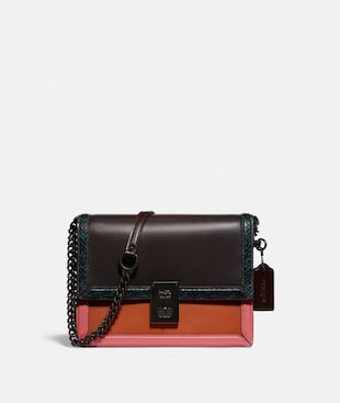 HUTTON SHOULDER BAG IN COLORBLOCK WITH SNAKESKIN DETAIL