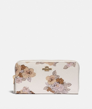 ACCORDION ZIP WALLET WITH FLORAL BOUQUET PRINT
