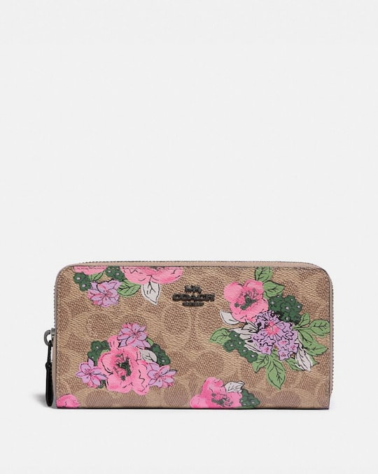 ACCORDION ZIP WALLET IN SIGNATURE CANVAS WITH BLOSSOM PRINT