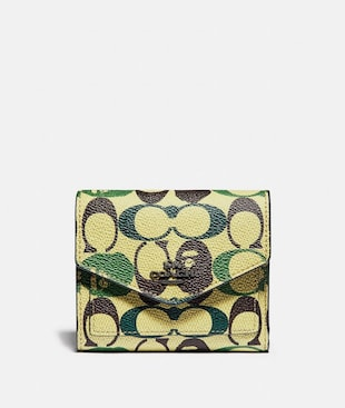 BAPE X COACH SMALL WALLET IN SIGNATURE CANVAS WITH APE HEAD