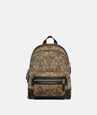 BAPE X COACH ACADEMY BACKPACK 23 IN SIGNATURE JACQUARD WITH APE HEAD