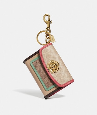PARKER BAG CHARM IN COLORBLOCK SIGNATURE CANVAS