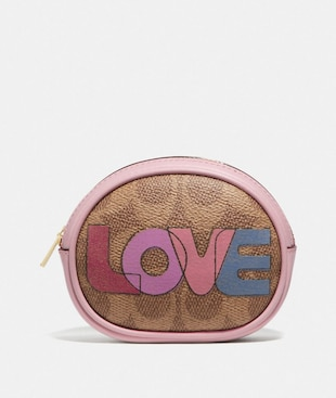 HARNESS BUCKLE REVERSIBLE BELT AND POUCH WITH LOVE PRINT, 25MM