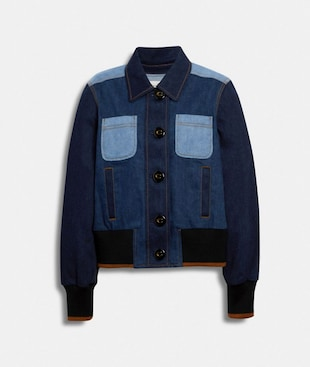 DENIM BUTTON FRONT BOMBER