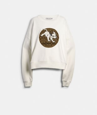 DISNEY X COACH DALMATIAN SIGNATURE RELAXED CREWNECK