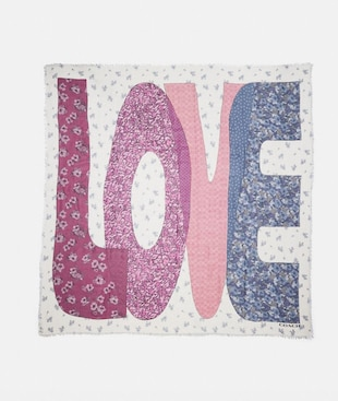 LOVE PATCHWORK PRINT OVERSIZED SQUARE SCARF