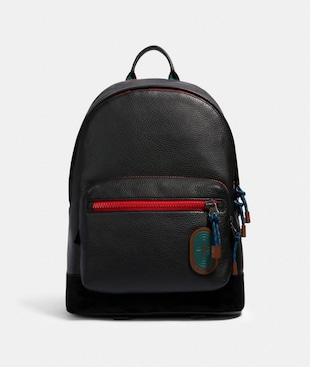 WEST BACKPACK IN COLORBLOCK WITH WAVY ANIMAL PRINT DETAIL AND COACH PATCH