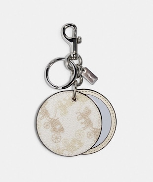 MIRROR BAG CHARM WITH HORSE AND CARRIAGE PRINT