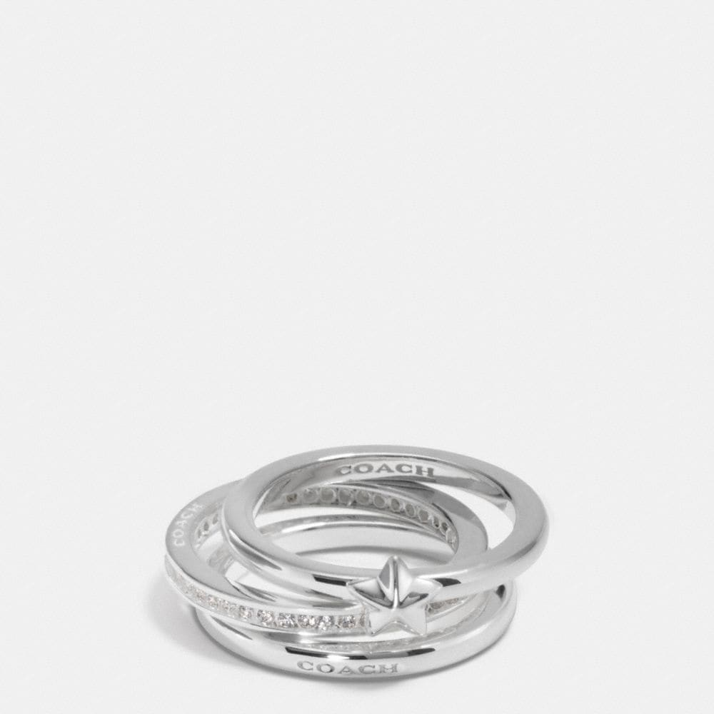 PAVE STERLING SILVER STACKABLE RING SET