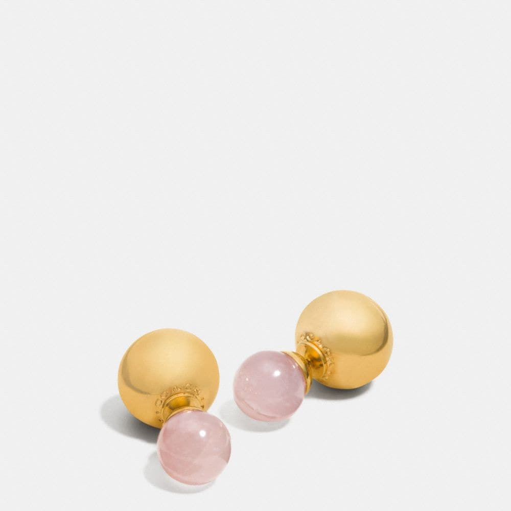 DOUBLE SPHERES STONE EARRINGS