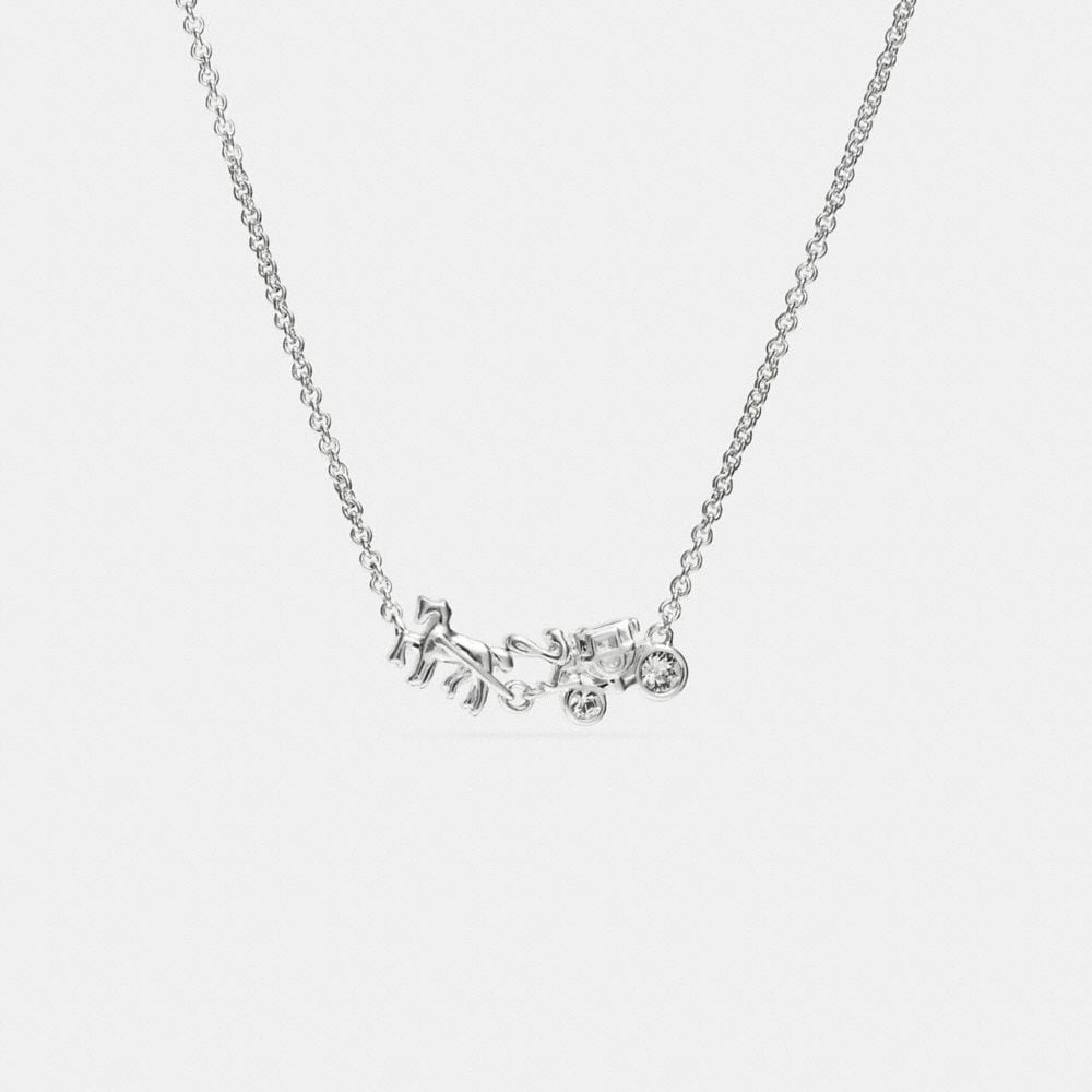 STERLING PAVE HORSE AND CARRIAGE NECKLACE