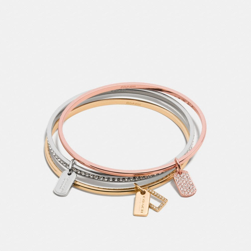 PAVE MIXED TAGS BANGLE SET