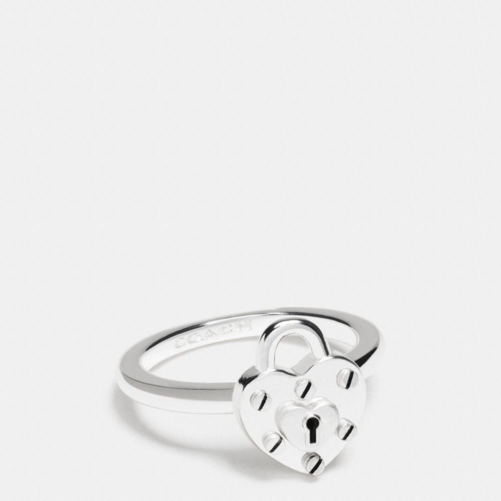 STERLING SILVER HEART LOCK RING