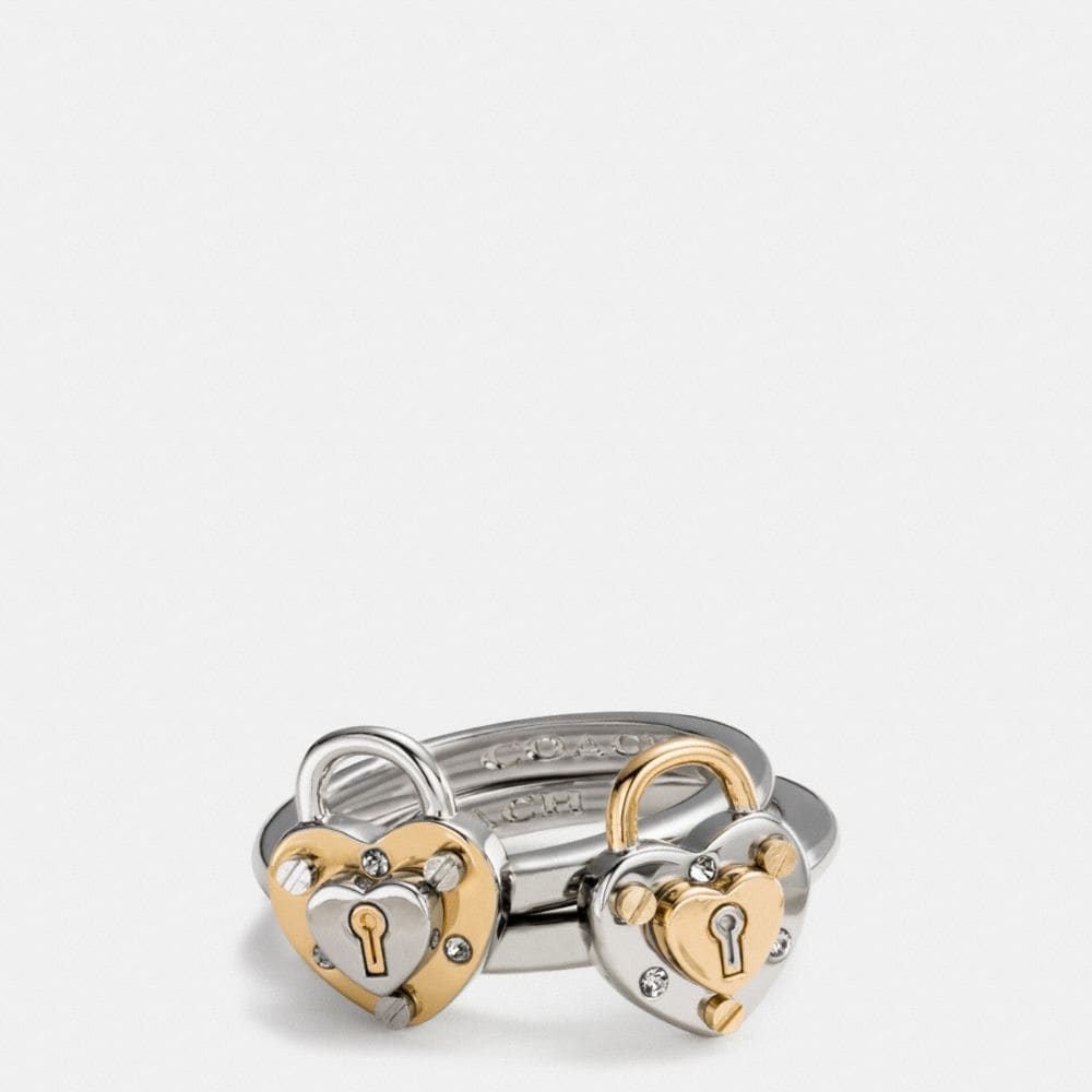 PADLOCK HEART RING SET