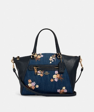 PRAIRIE SATCHEL WITH PAINTED FLORAL BOX PRINT