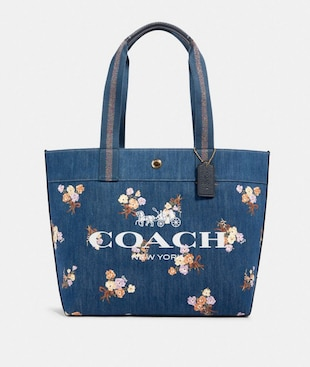 TOTE WITH PAINTED FLORAL BOX PRINT