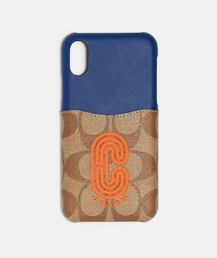 IPHONE X/XS CASE IN COLORBLOCK SIGNATURE CANVAS WITH COACH PATCH