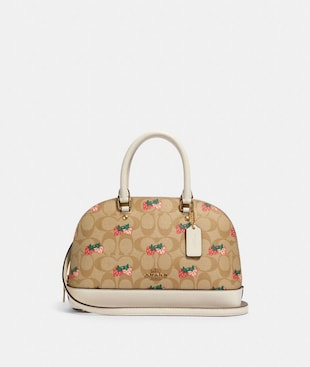 MINI SIERRA SATCHEL IN SIGNATURE CANVAS WITH STRAWBERRY PRINT