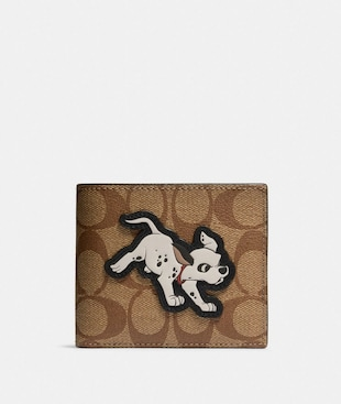 DISNEY X COACH 3-IN-1 WALLET IN SIGNATURE CANVAS WITH DALMATIAN