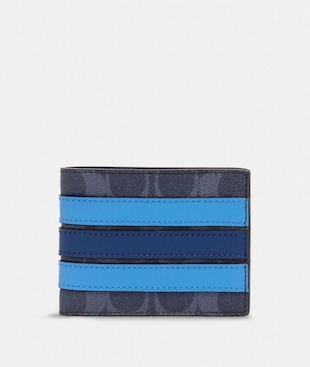 SLIM BILLFOLD WALLET IN SIGNATURE CANVAS WITH VARSITY STRIPE