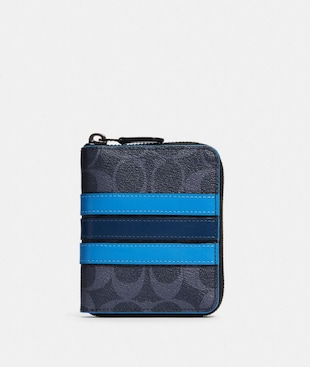MEDIUM ZIP AROUND WALLET IN SIGNATURE CANVAS WITH VARSITY STRIPE