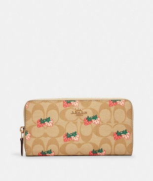 ACCORDION ZIP WALLET IN SIGNATURE CANVAS WITH STRAWBERRY PRINT
