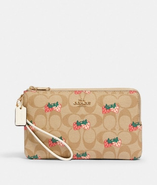 DOUBLE ZIP WALLET IN SIGNATURE CANVAS WITH STRAWBERRY PRINT
