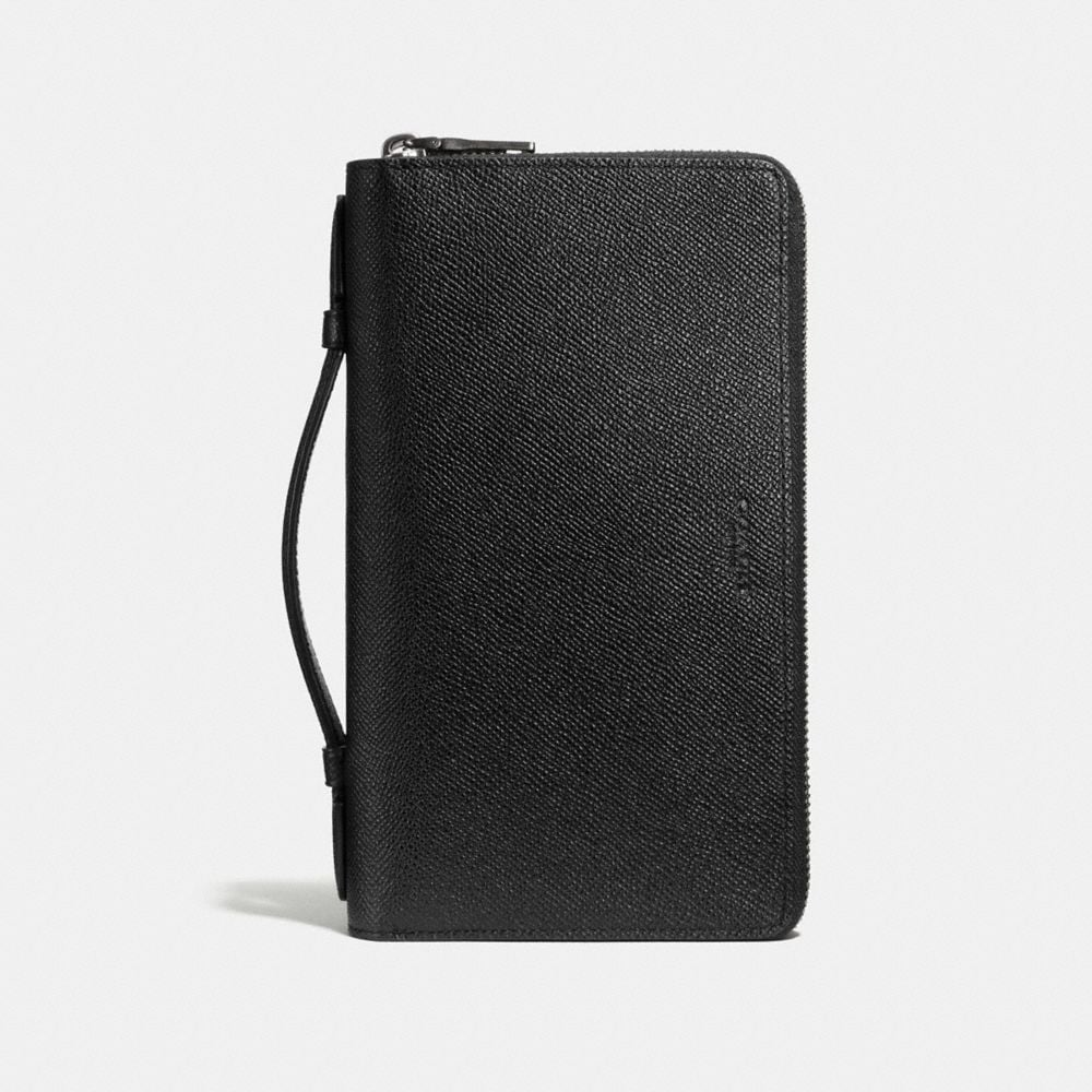 DOUBLE ZIP TRAVEL ORGANIZER IN CROSSGRAIN LEATHER