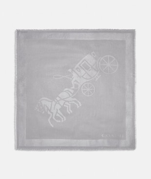 HORSE AND CARRIAGE PRINT OVERSIZED SQUARE SCARF
