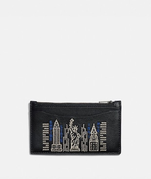 ZIP CARD CASE WITH STARDUST CITY SKYLINE