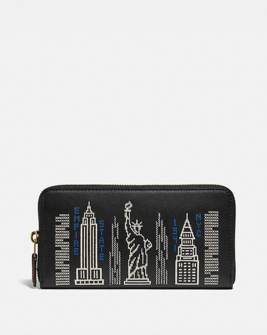 ACCORDION ZIP WALLET WITH STARDUST CITY SKYLINE EMBROIDERY