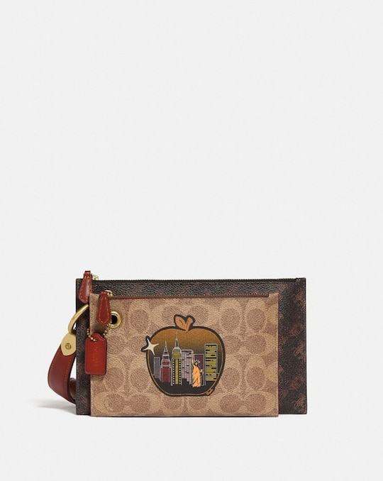 DOUBLE SLIM WRISTLET IN SIGNATURE CANVAS WITH HORSE AND CARRIAGE PRINT AND BIG APPLE SKYLINE