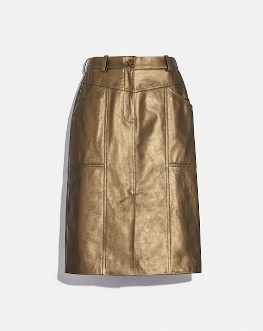 METALLIC LEATHER MIDI SKIRT