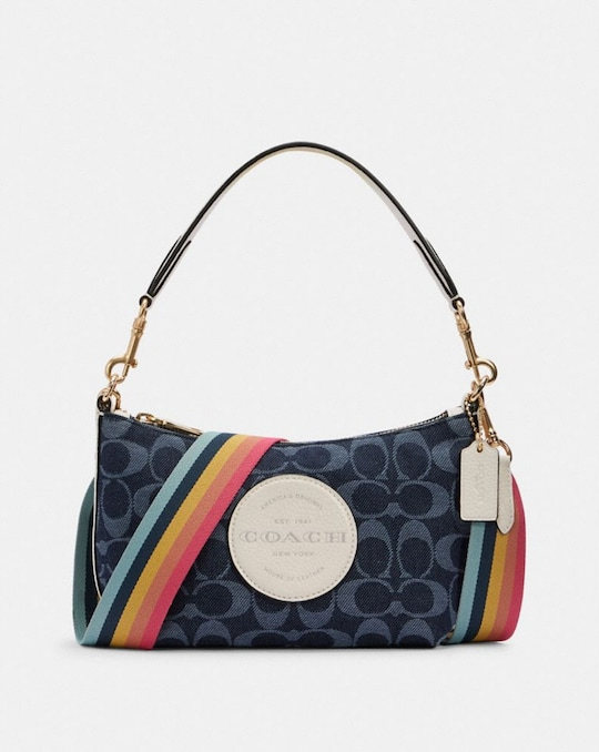 DEMPSEY SHOULDER BAG IN SIGNATURE JACQUARD WITH PATCH