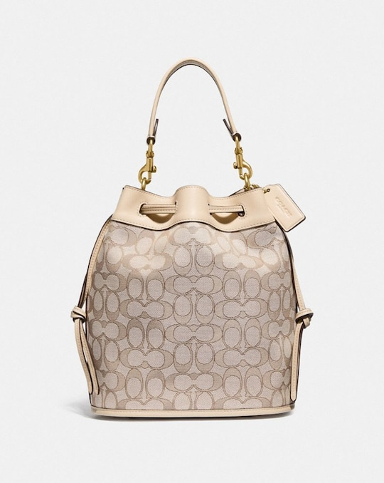 FIELD BUCKET BAG IN SIGNATURE JACQUARD