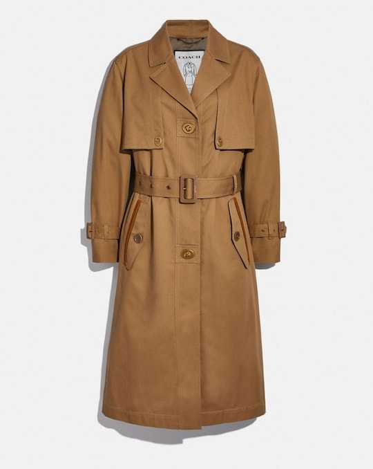 COTTON TRENCH WITH LEATHER TRIM