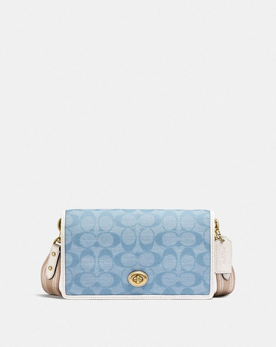 HAYDEN FOLDOVER CROSSBODY CLUTCH IN SIGNATURE CHAMBRAY