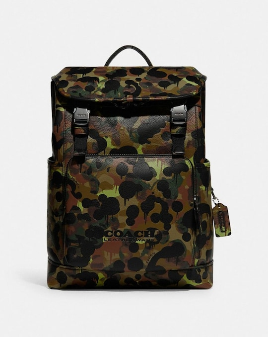 LEAGUE FLAP BACKPACK WITH CAMO PRINT