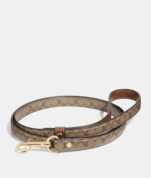 SMALL PET LEASH IN SIGNATURE CROSSGRAIN LEATHER