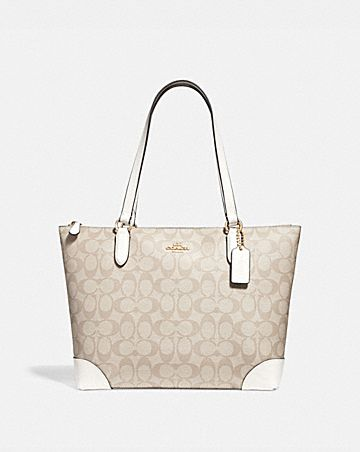 ZIP TOP TOTE IN SIGNATURE CANVAS