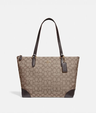 ZIP TOP TOTE IN SIGNATURE JACQUARD