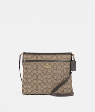 FILE CROSSBODY IN SIGNATURE JACQUARD