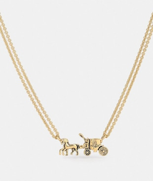 HORSE AND CARRIAGE DOUBLE CHAIN NECKLACE