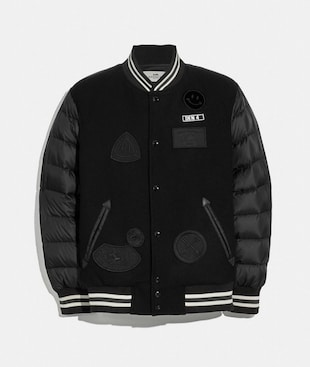 DOWN VARSITY JACKET WITH PATCHES